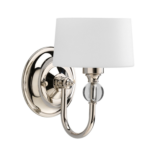 Progress Lighting Progress Modern Polished Nickel Sconce Light with White Glass P7049-104WB