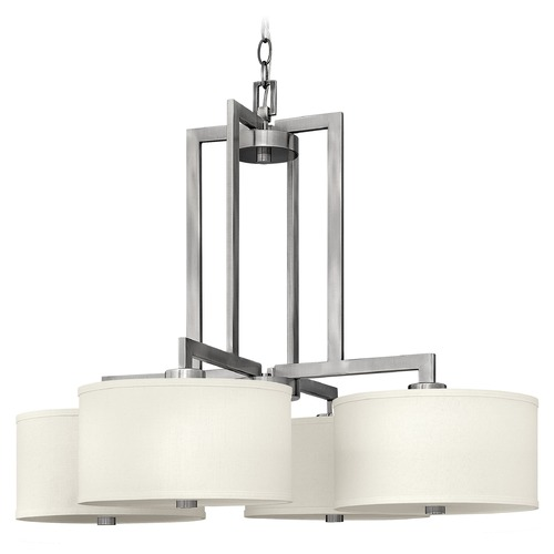 Hinkley Lighting Modern Chandelier with White Shades in Antique Nickel Finish 3214AN
