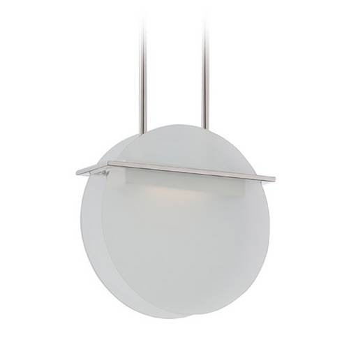 Nuvo Lighting Modern LED Pendant Light with White Glass in Polished Nickel Finish 62/158