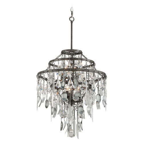 Troy Lighting Troy Lighting Bistro Graphite with Antique Pewter Flatware Pendant Light F3806