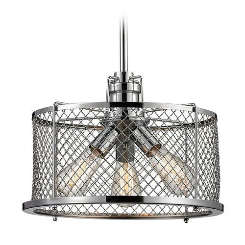 Elk Lighting Drum Pendant Light in Polished Chrome Finish 55002/3