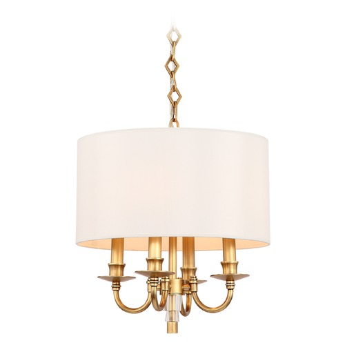 Crystorama Lighting Crystorama Lighting Lawson Aged Brass Pendant Light with Drum Shade 8704-AG