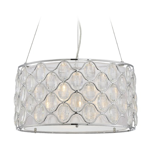 Savoy House Savoy House Lighting Opus Polished Chrome Pendant Light with Drum Shade 7-6061-3-11