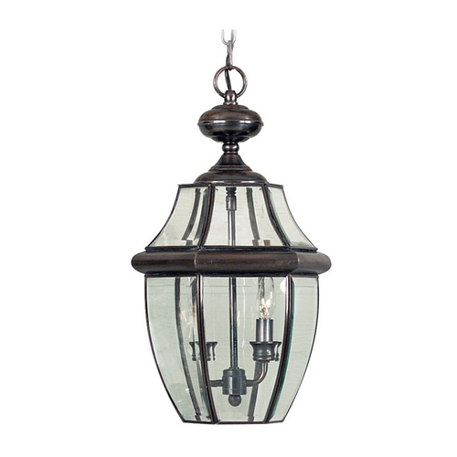 Quoizel Lighting Outdoor Hanging Light with Clear Glass in Aged Copper Finish NY1178AC