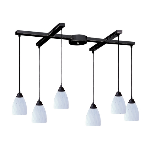 Elk Lighting Modern Multi-Light Pendant Light with Art Glass and 6-Lights 406-6WH