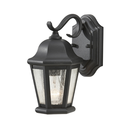 Home Solutions by Feiss Lighting Outdoor Wall Light with Clear Glass in Black Finish OL5900BK