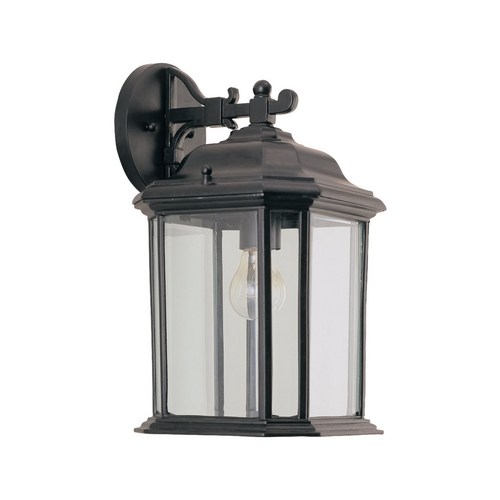 Sea Gull Lighting Outdoor Wall Light with Clear Glass in Black Finish 84031-12