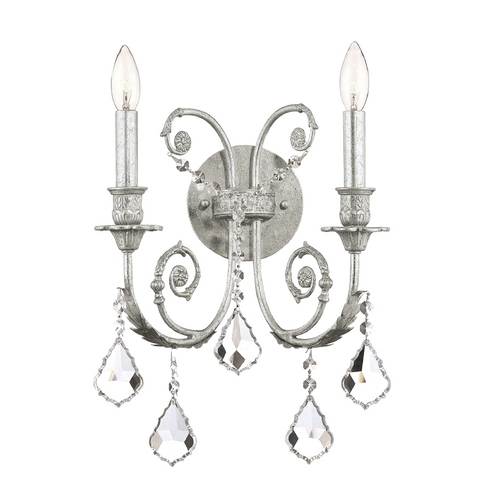 Crystorama Lighting Crystal Sconce Wall Light in Olde Silver Finish 5112-OS-CL-MWP