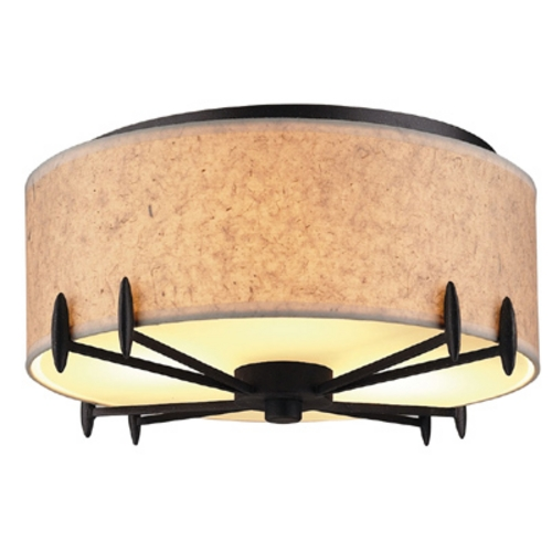 Bronze Luster Threelight Ceiling Light Fixture With Artisan Paper Shade F51349