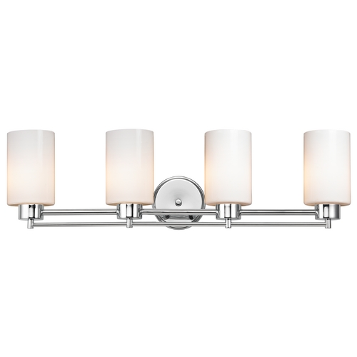 Design Classics Lighting Modern Bathroom Light with White Glass - Four Lights 704-26 GL1024C