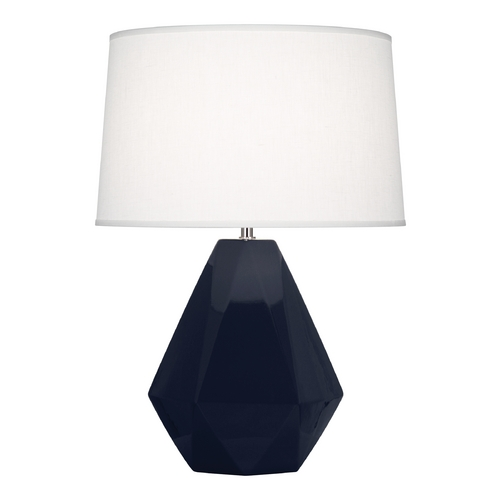 Robert Abbey Lighting Modern Art Deco Table Lamp Midnight Blue / Polished Nickel Delta by Robert Abbey MB930