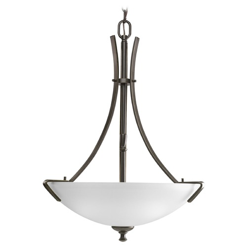 Progress Lighting Progress Pendant Light with White Glass in Antique Bronze Finish P3757-20
