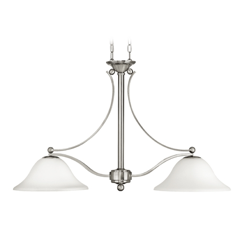 Hinkley Lighting Pendant Light with White Glass in Brushed Nickel Finish 4662BN
