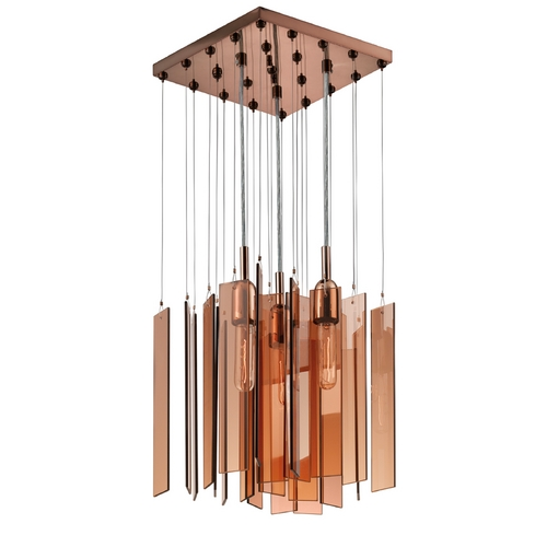Sonneman Lighting Modern Multi-Light Pendant Light with Brown Glass and 3-Lights 4645.02