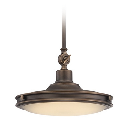 Nuvo Lighting LED Pendant Light with White Glass in Antique Brass Finish 62/161