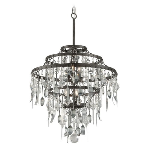Troy Lighting Troy Lighting Bistro Graphite with Antique Pewter Flatware Pendant Light F3807