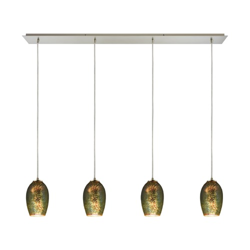 Elk Lighting Elk Lighting Illusions Satin Nickel Multi-Light Pendant with Bowl / Dome Shade 10506/4LP