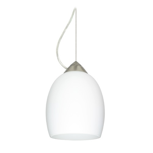 Besa Lighting Besa Lighting Lucia Satin Nickel LED Mini-Pendant Light with Bell Shade 1KX-169707-LED-SN