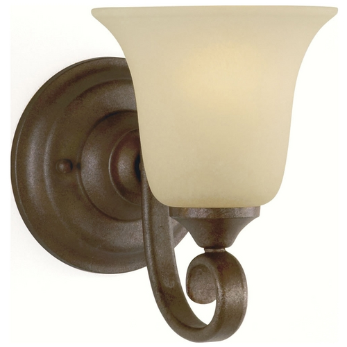 Feiss Lighting Sconce Wall Light with Beige / Cream Glass in Corinthian Bronze Finish VS10401-CB