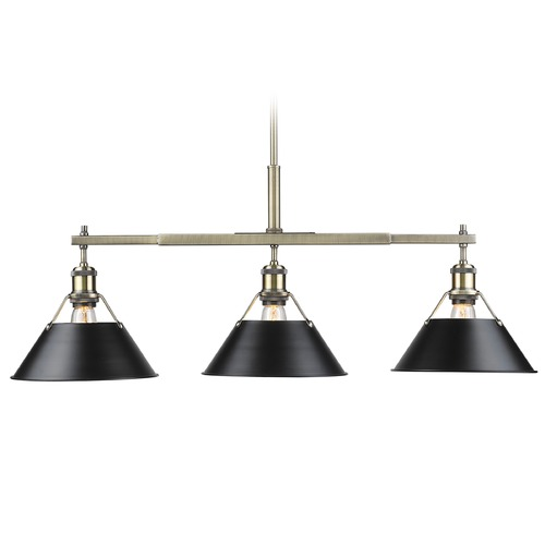 Golden Lighting Golden Lighting Orwell Ab Aged Brass Billiard Light with Conical Shade 3306-LP AB-BLK