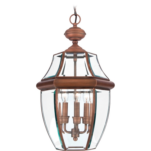 Quoizel Lighting Outdoor Hanging Light with Clear Glass in Aged Copper Finish NY1179AC