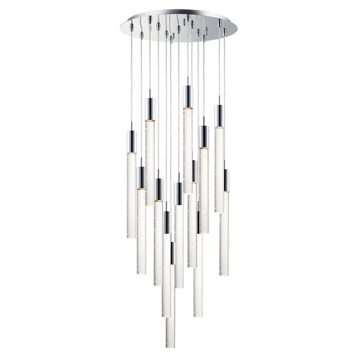 ET2 Lighting ET2 Big Fizz Polished Chrome LED Multi-Light Pendant with Cylindrical Shade E22878-91PC