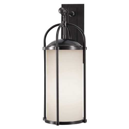 Feiss Lighting Modern Outdoor Wall Light with White Glass in Espresso Finish OL7602ES