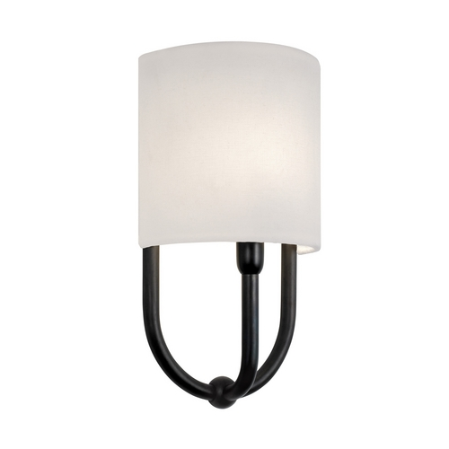 Sonneman Lighting Sconce Wall Light with White Shade in Rubbed Bronze Finish 1833.24