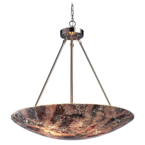 Elk Lighting Modern Pendant Light with Multi-Color Glass in Satin Nickel Finish 73033-5