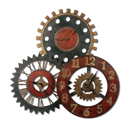 Uttermost Lighting Clock in Red / Gold Finish 06762