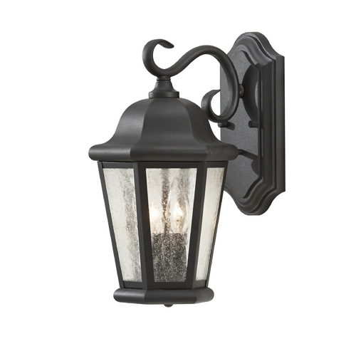 Feiss Lighting Outdoor Wall Light with Clear Glass in Black Finish OL5901BK