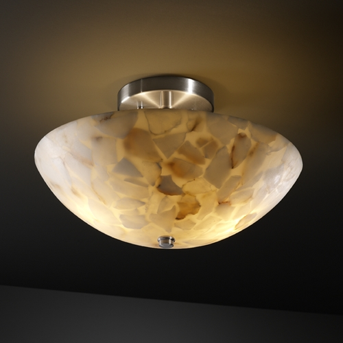 Justice Design Group Justice Design Group Alabaster Rocks! Collection Semi-Flushmount Light ALR-9690-35-NCKL