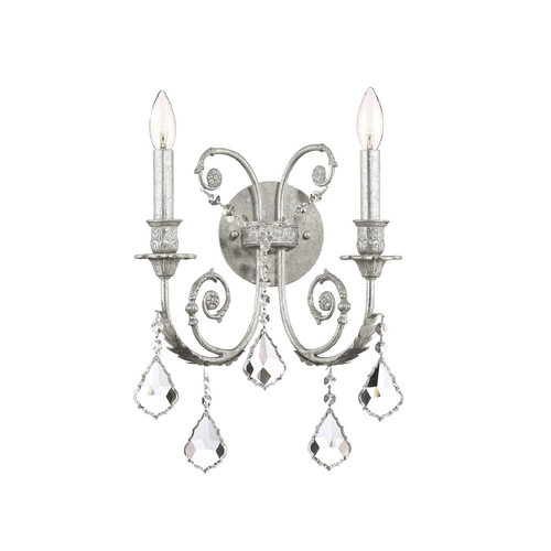 Crystorama Lighting Crystal Sconce Wall Light in Olde Silver Finish 5112-OS-CL-S