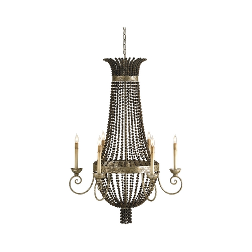 Currey and Company Lighting Chandelier in Distressed Silver Leaf Finish 9686