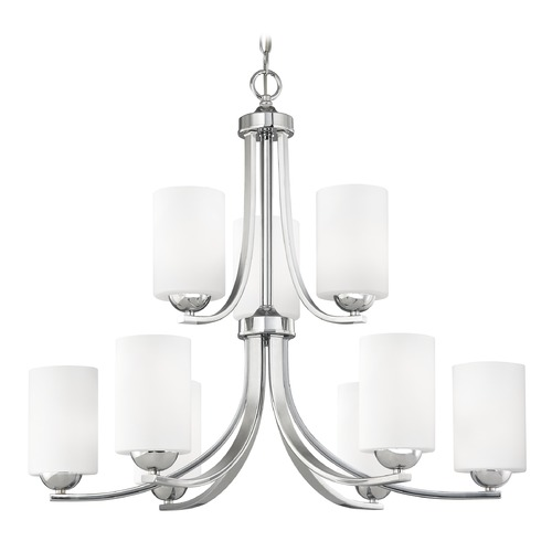 Design Classics Lighting Modern Chrome Chandelier with Satin White Cylinder Glass 586-26 GL1028C