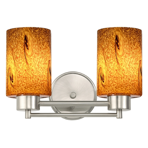 Design Classics Lighting Modern Bathroom Light with Brown Art Glass in Satin Nickel Finish 702-09 GL1001C
