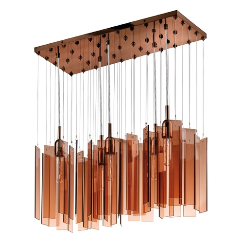 Sonneman Lighting Modern Multi-Light Pendant Light with Brown Glass and 5-Lights 4646.02
