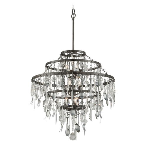 Troy Lighting Troy Lighting Bistro Graphite with Antique Pewter Flatware Pendant Light F3809