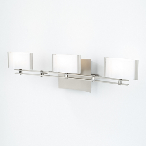 Holtkoetter Lighting Holtkoetter Modern Bathroom Light with White Glass in Satin Nickel Finish 5583 SN GB50