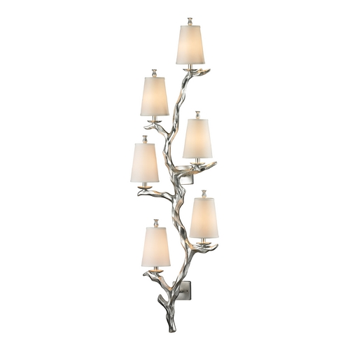 Elk Lighting Sconce Wall Light with Beige / Cream Shades in Silver Leaf Finish 55005/6
