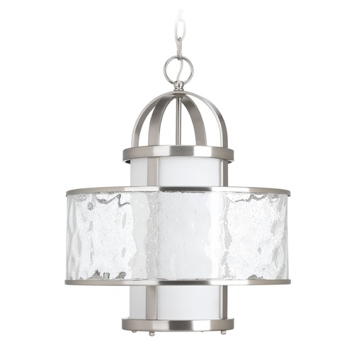 Progress Lighting Progress Lighting Bay Court Brushed Nickel Pendant Light with Cylindrical Shade P5310-09