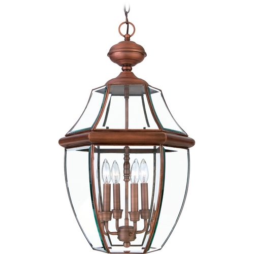 Quoizel Lighting Outdoor Hanging Light with Clear Glass in Aged Copper Finish NY1180AC