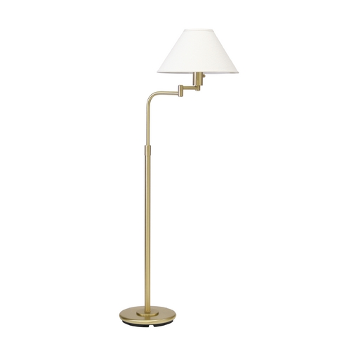 House of Troy Lighting Swing Arm Lamp with White Shade in Satin Brass Finish PH101-51
