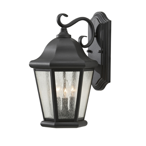 Sea Gull Lighting Outdoor Wall Light with Clear Glass in Black Finish OL5902BK