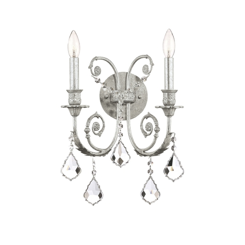 Crystorama Lighting Crystal Sconce Wall Light in Olde Silver Finish 5112-OS-CL-SAQ