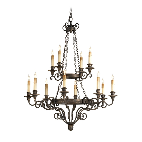 Currey and Company Lighting Chandelier in Hand Rubbed Bronze Finish 9682