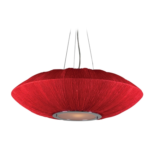 PLC Lighting Modern Pendant Light with Red Shades in Red Finish 73012  RED