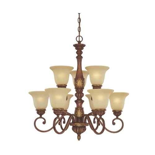 Dolan Designs Lighting Nine-Light Two-Tier Chandelier with Leaf Design 2792-137
