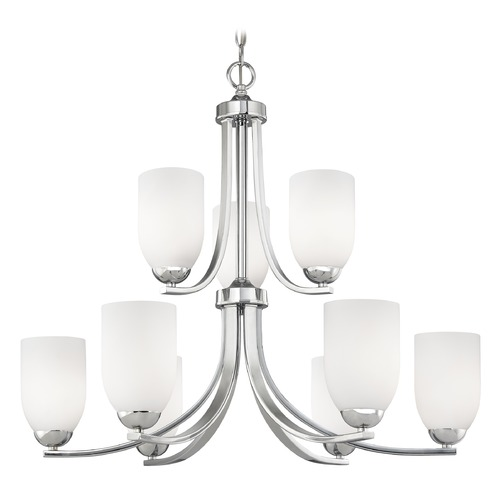 Design Classics Lighting Modern Chrome Chandelier with Satin White Glass Shades 586-26 GL1028D