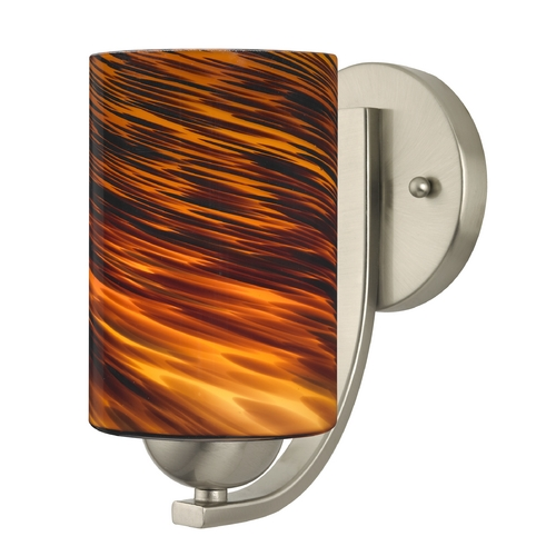 Design Classics Lighting Sconce with Brown Art Glass in Satin Nickel Finish 585-09 GL1023C
